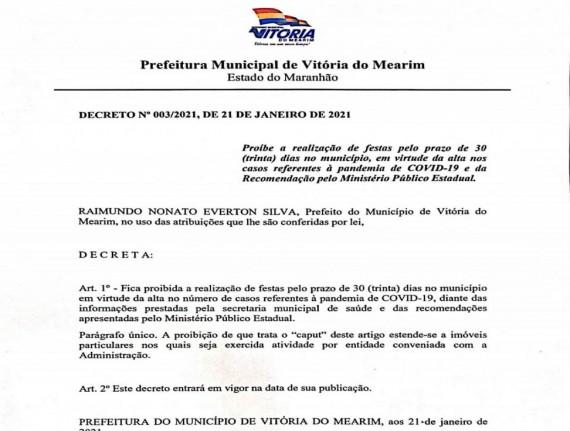 Prefeito Nato da Nordestina decreta suspensão de atividades festivas em Vitória do Mearim