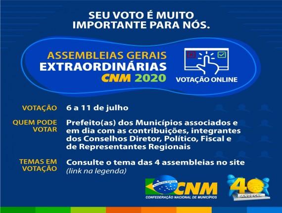 ATENÇÃO: assembleias gerais CNM serão virtuais entre os dias 6 e 11 de julho