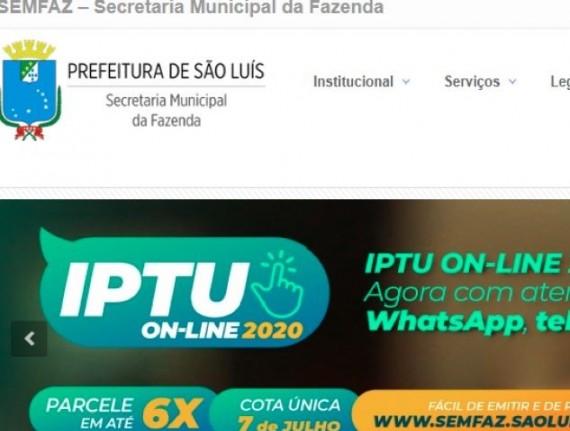 Prefeitura de São Luís prorroga para sexta-feira (10) vencimento da primeira parcela e cota única do IPTU 2020