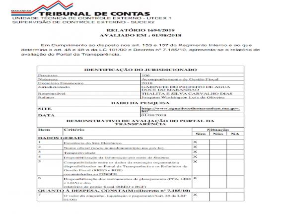 Prefeitura municipal de Água Doce do Maranhão está em situação…