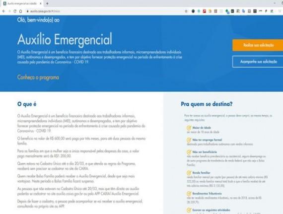 AUXÍLIO EMERGENCIAL: Site da Caixa para informais pedirem auxílio…