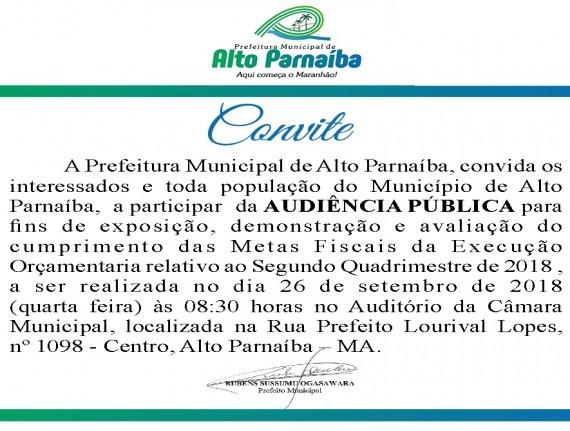 Convite para a Audiência Pública