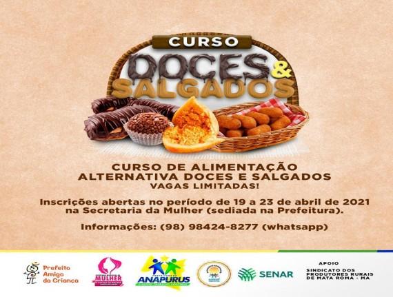 Prefeitura de Anapurus, em parceria com o SENAR, Promoverá curso de doces e  salgados
