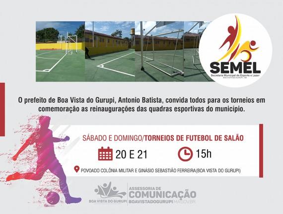 Torneios marcarão reinaugurações de quadras esportivas e do Ginásio Sebastiãozinho