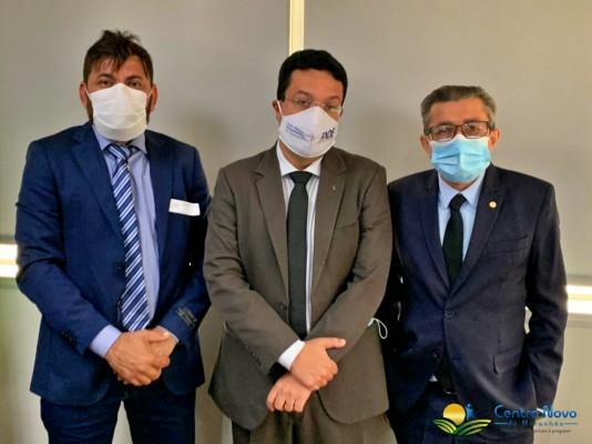 Prefeito Júnior Garimpeiro, Presidente do FNDE Marcelo Lopes e o Deputado Federal Dr. Gonçalo.