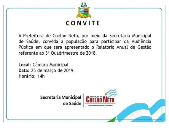 CONVITE AUDIÊNCIA PÚBLICA DA SECRETARIA MUNICIPAL DE SAÚDE