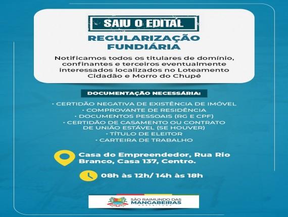 Prefeitura de Mangabeiras lança edital para regularização de lotes do Loteamento Cidadão e Morro do…
