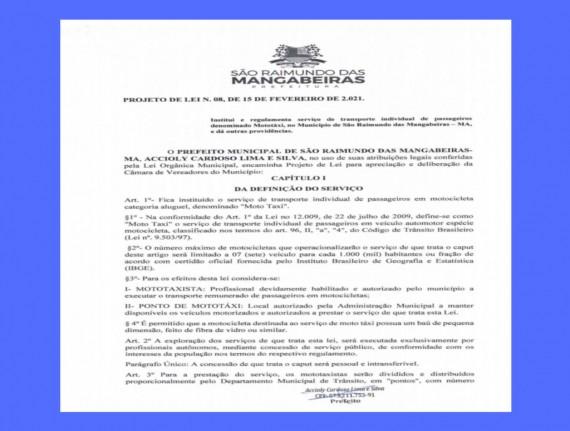 Prefeitura de Mangabeiras encaminha à Câmara de Vereadores,…