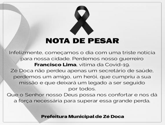 NOTA DE PESAR EM DECORRÊNCIA DO FALECIMENTO DE FRANCISCO BARROS…