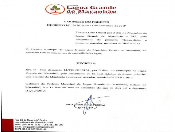 PREFEITURA DE LAGOA GRANDE DECRETA LUTO OFICIAL POR 3 DIAS PELO…