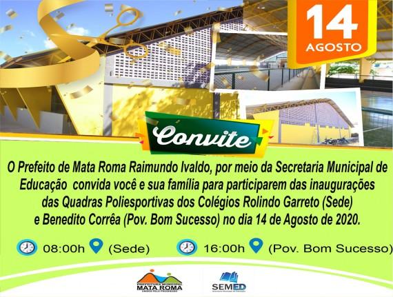 Convite: Inaugurações das Quadras Poliesportivas
