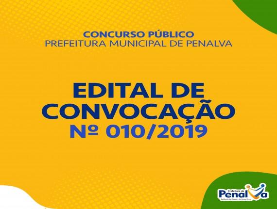 EDITAL DE CONVOCAÇÃO Nº 010/2019