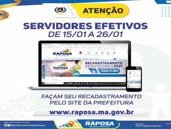 Prazo para o recadastramento dos servidores efetivos da Raposa encerra dia 26 de janeiro