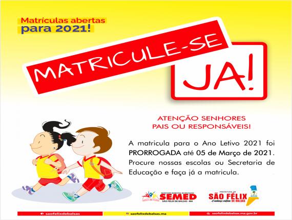 MATRICULAS ABERTAS PARA O ANO LETIVO 2021 - MATRICULE-SE JÁ!