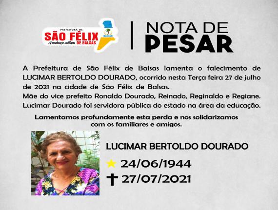 NOTA DE PESAR - LUCIMAR BERTOLDO DOURADO
